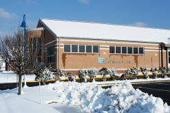 Snow around the library
