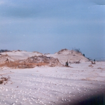 """The great dune at 48th Street. A 1950's Geological Survey map shows an elevation of 48'. Judging by the figures in the photo, about 25' was washed off- on a dune nearly 500 ft from the waterline. At the time I guessed that the dune had lost at least 250,000 cu ft of sand."" - Jim Thatcher"